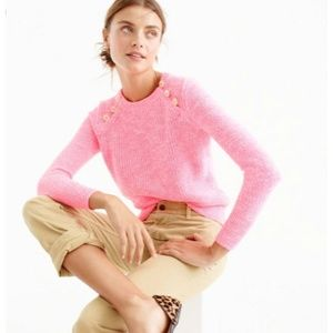 NWT J. Crew Variegated Pink Anchor Button Sweater